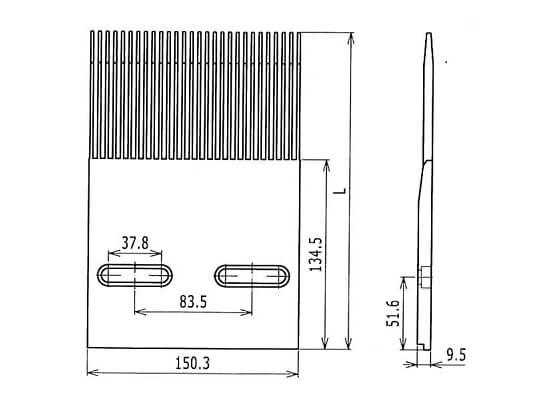 Ilustrasi Gambar Plastic Modular Belt 4809 Finger Transfer Plates | Trindo Sukses Mandiri