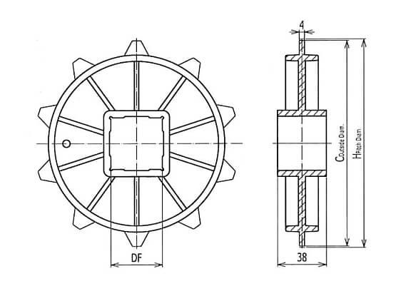 Ilustrasi Ukuran Classic Sprocket Injection 400 | Trindo Sukses Mandiri