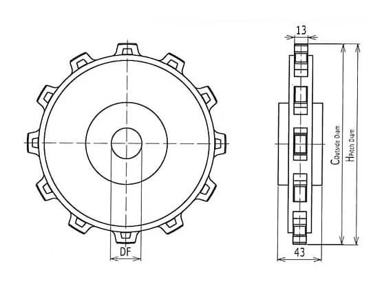 Ilustrasi Ukuran Classic Sprocket Injection Plastic Modular Belt OPB | Trindo Sukses Mandiri