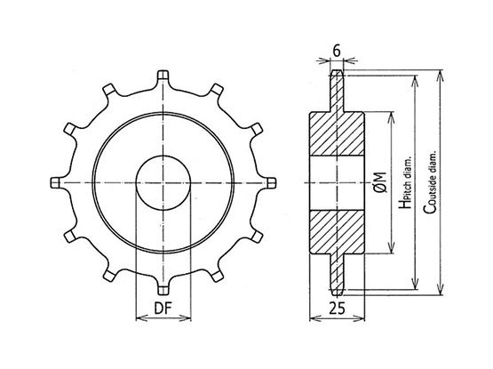 Ilustrasi Ukuran Classic Sprocket Plastic Modular Belt SNB M2 | Trindo Sukses Mandiri