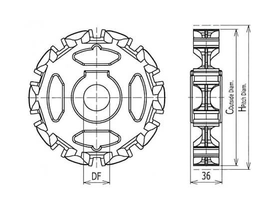 Ilustrasi Ukuran Classic Sprockets Injection Plastic Modular Belt 800 | Trindo Sukses Mandiri