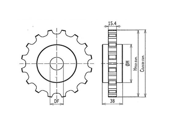 Ilustrasi Ukuran Classic Sprockets Machined 1400 | Trindo Sukses Mandiri