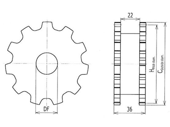 Ilustrasi Ukuran Flexible Chain Sprocket 7000 | Trindo Sukses Mandiri