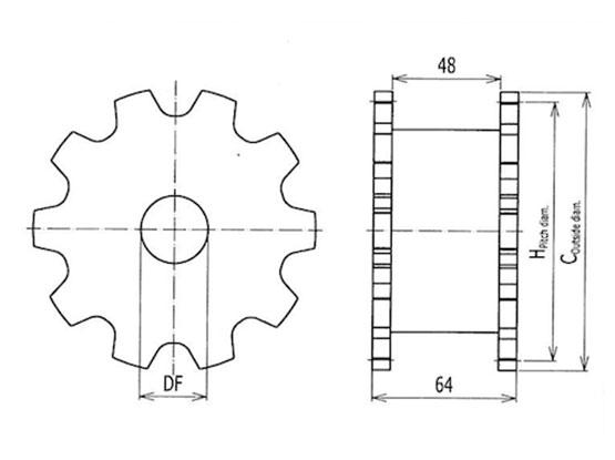 Ilustrasi Ukuran Flexible Chain Classic Sprocket 7200 | Trindo Sukses Mandiri