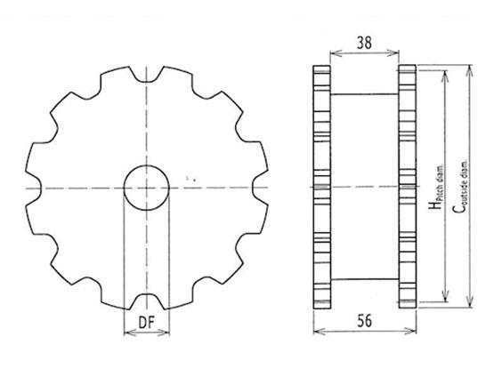 Ilustrasi Ukuran Flexible Chain Classic Sprocket XB175 | Trindo Sukses Mandiri