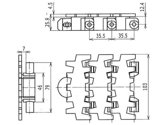 Ilustrasi Ukuran Flexible Plain Chain 7200K | Trindo Sukses Mandiri