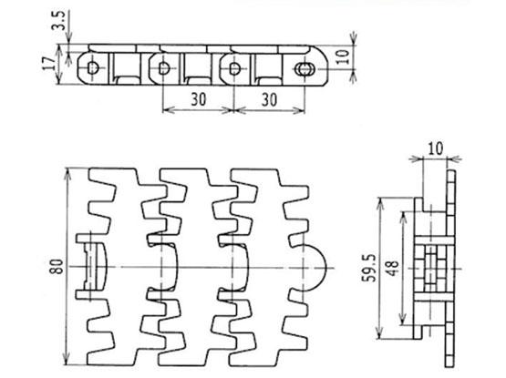 Ilustrasi Ukuran Flexible Plain Chain Fingered 80 | Trindo Sukses Mandiri