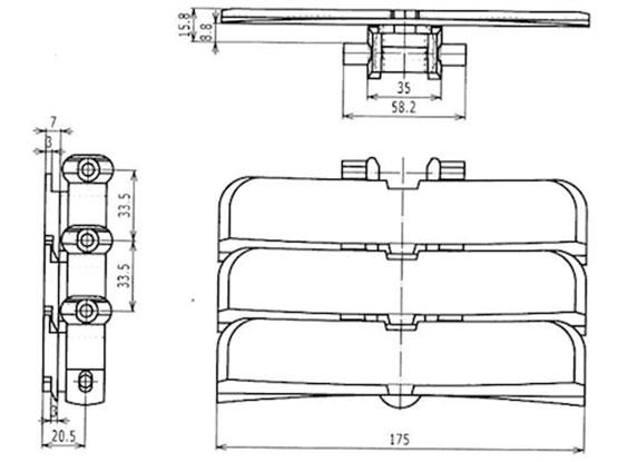 Ilustrasi Ukuran Flexible Plain Chain XB175 | Trindo Sukses Mandiri