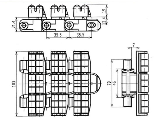 Ilustrasi Ukuran Flexible Roller Top Chain 7200R | Trindo Sukses Mandiri