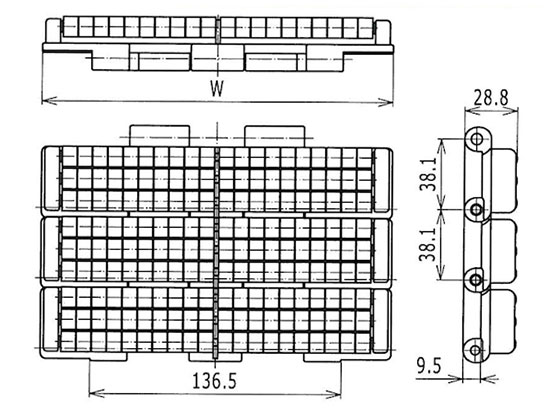 Ilustrasi Ukuran LBP- Chain Double Hinge LBP821 | Trindo Sukses Mandiri