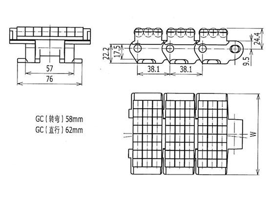 Ilustrasi Ukuran LBP Chain Heavy Duty LBP882TAB Seri B   Trindo Sukses Mandiri