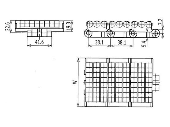 Ilustrasi Ukuran LBP Chain Single Hinge LBP831 | Trindo Sukses Mandiri