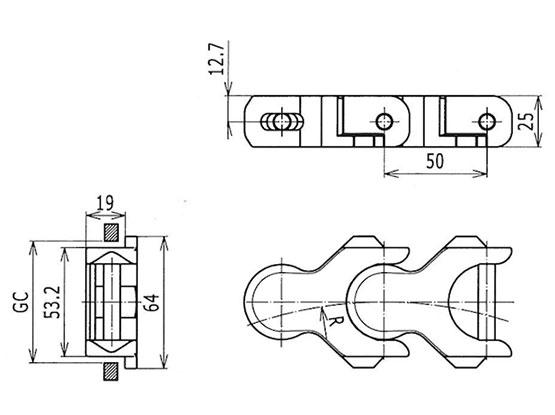 Ilustrasi Ukuran Multiflex Chain 1701TAB | Trindo Sukses Mandiri