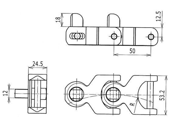 Ilustrasi Ukuran Multiflex Chain 1702 With Pushers | Trindo Sukses Mandiri