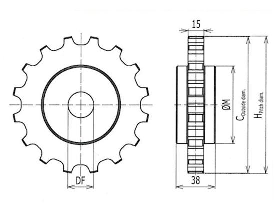Ilustrasi Ukuran Plastic Chain Belt Classic Sprocket S4090   Trindo Sukses Mandiri