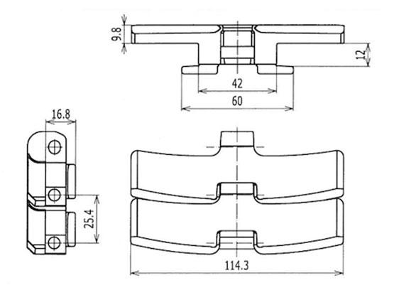 Ilustrasi Ukuran Plastic Chain Belt S4090 | Trindo Sukses Mandiri