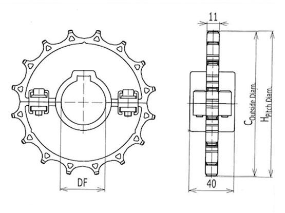 Ilustrasi Ukuran Plastic Chain Belt Split Sprocket 1060 | Trindo Sukses Mandiri
