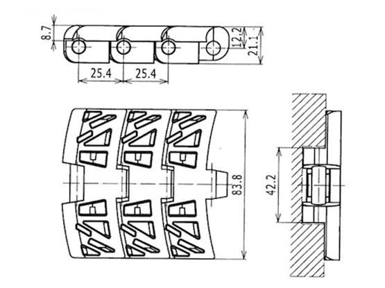 Ilustrasi Ukuran Plastic Magnetflex Chain Belt 1050 | Trindo Sukses Mandiri
