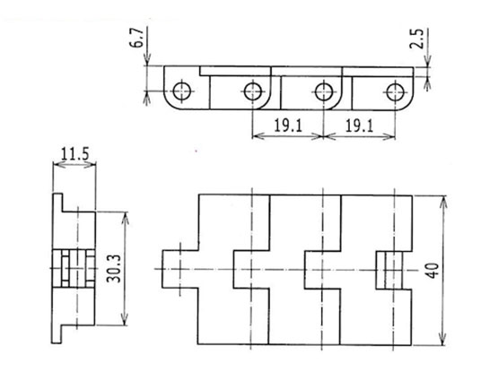 Ilustrasi Ukuran Plastic Miniature Chain Belt 5931 | Trindo Sukses Mandiri