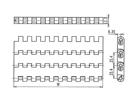 Ilustrasi Ukuran Plastic Modular Belt 1005 Flat Top | Trindo Sukses Mandiri