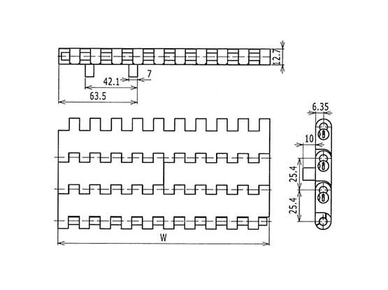 Ilustrasi Ukuran Plastic Modular Belt 1005 Flat Top With Positrack (A) | Trindo Sukses Mandiri
