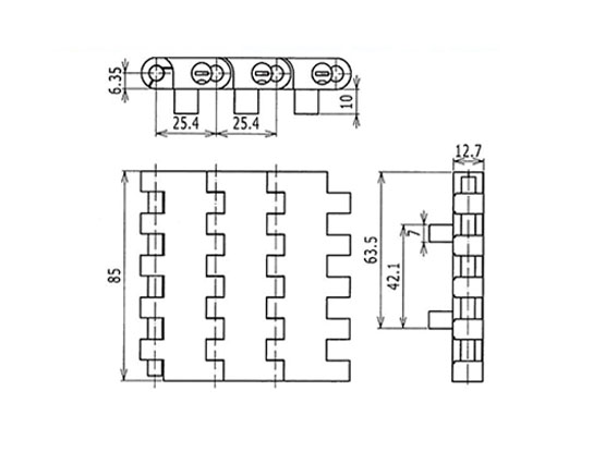 Ilustrasi Ukuran Plastic Modular Belt 1005 Flat Top With Positrack (B) | Trindo Sukses Mandiri