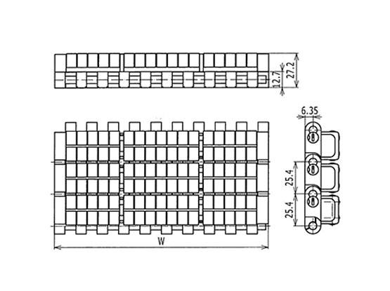 Ilustrasi Ukuran Plastic Modular Belt 1005 Roller Top (A) | Trindo Sukses Mandiri