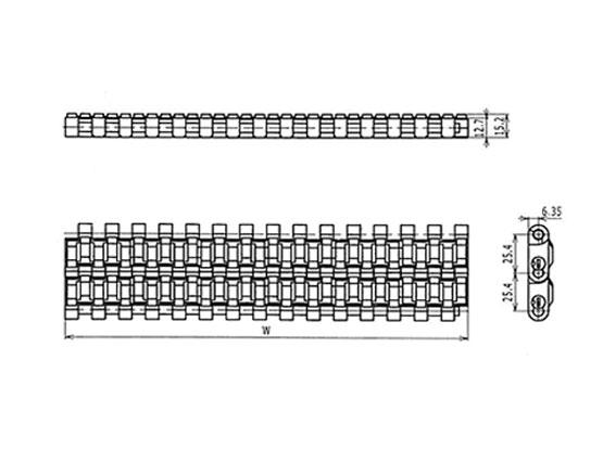 Ilustrasi Ukuran Plastic Modular Belt 1005 Supergrip (A) | Trindo Sukses Mandiri