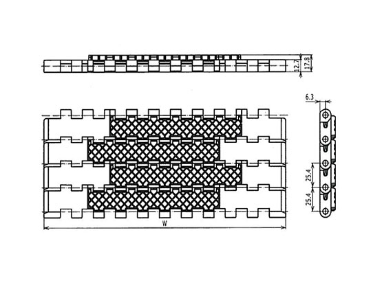 Ilustrasi Ukuran Plastic Modular Belt 1400 Square Friction Top | Trindo Sukses Mandiri
