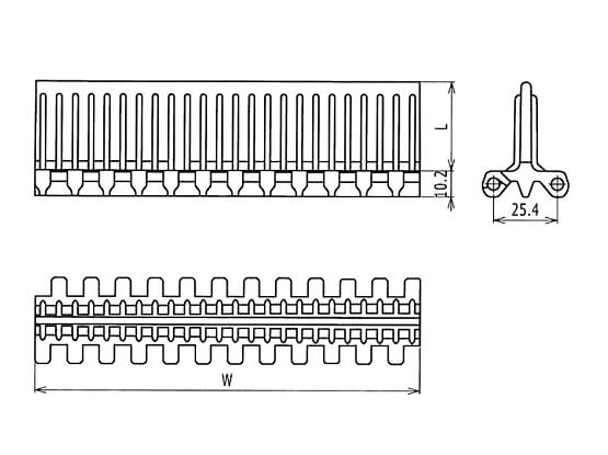 Ilustrasi Ukuran Plastic Modular Belt 1600 Flat Top Base Flights | Trindo Sukses Mandiri