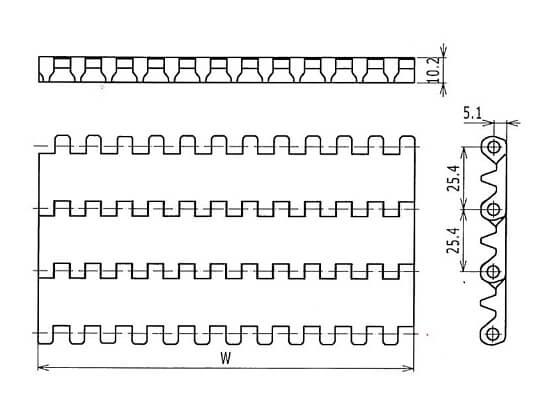 Plastic Modular Belt 1600 Flat Top | Trindo Sukses Mandiri