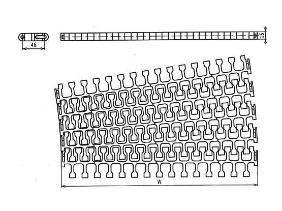 Ilustrasi Ukuran Plastic Modular Belt 2400B Radius Flush Grid | Trindo Sukses Mandiri
