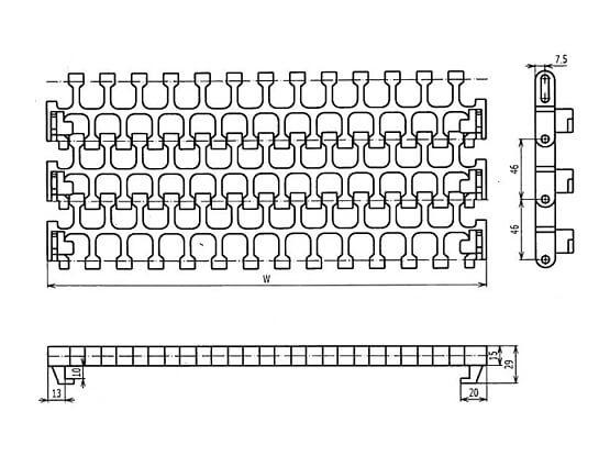 Ilustrasi Ukuran Plastic Modular Belt 2400C Radius Flush Grid | Trindo Sukses Mandiri
