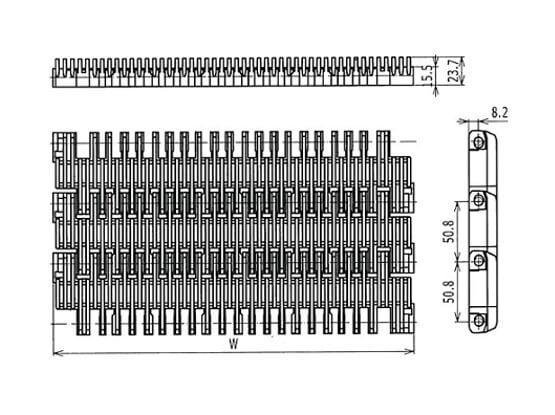 Ilustrasi Ukuran Plastic Modular Belt 3110 Raised Rib | Trindo Sukses Mandiri