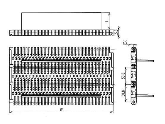 Ilustrasi Ukuran Plastic Modular Belt 400 Flush Grid Base Flights | Trindo Sukses Mandiri