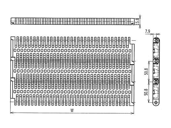 Ilustrasi Ukuran Plastic Modular Belt 400 Flush Grid | Trindo Sukses Mandiri