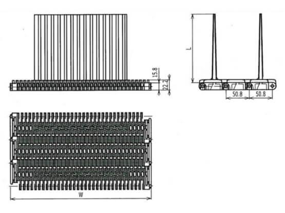 Ilustrasi Ukuran Plastic Modular Belt 400 Raised Rib Base Flights | Trindo Sukses Mandiri