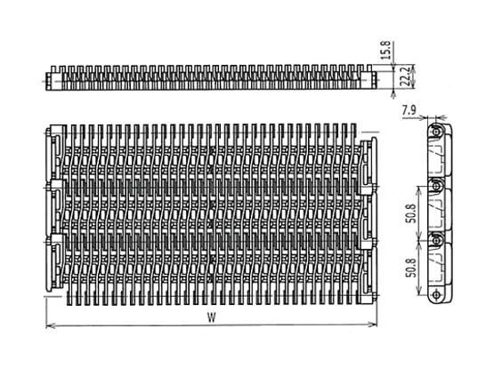 Ilustrasi Ukuran Plastic Modular Belt 400 Raised Rib | Trindo Sukses Mandiri