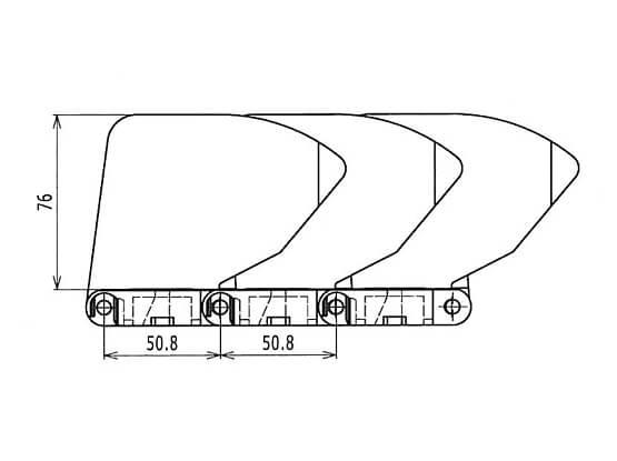 Ilustrasi Ukuran Plastic Modular Belt 400 Sideguards | Trindo Sukses Mandiri