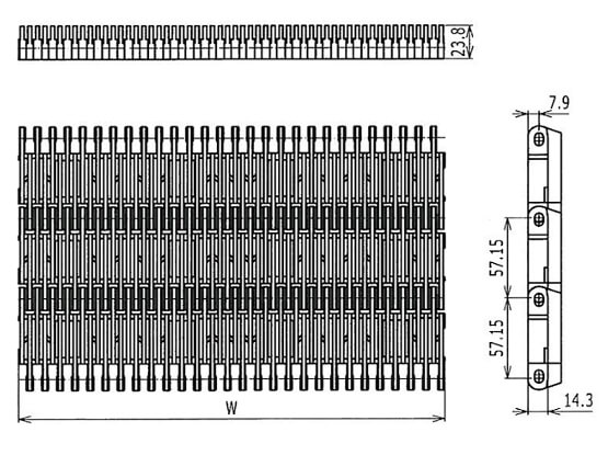 Ilustrasi Ukuran Plastic Modular Belt 4809 Raised Rib | Trindo Sukses Mandiri