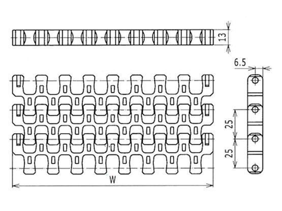 Ilustrasi Ukuran Plastic Modular Belt 510 Flush Grid | Trindo Sukses Mandiri