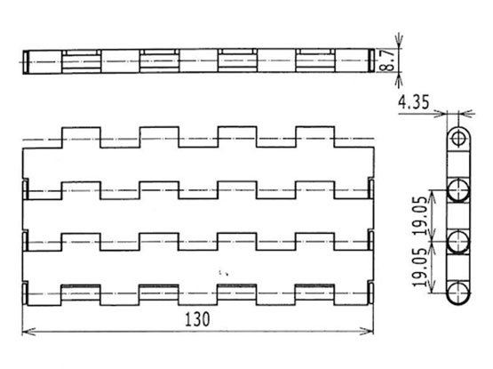 Ilustrasi Ukuran Plastic Modular Belt 5935MTW-K130 | Trindo Sukses Mandiri