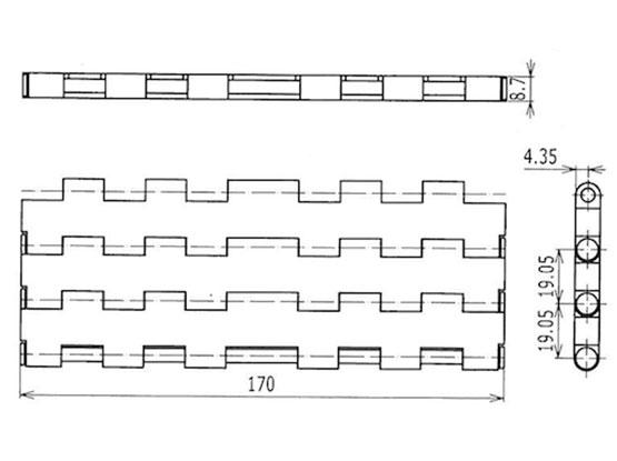 Ilustrasi Ukuran Plastic Modular Belt 5935MTW-K170 | Trindo Sukses Mandiri