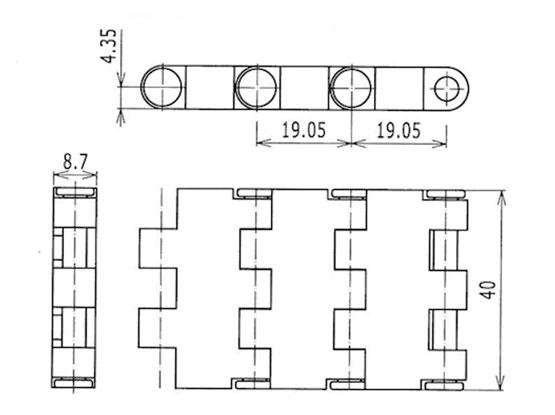 Ilustrasi Ukuran Plastic Modular Belt 5935MTW-K40 | Trindo Sukses Mandiri
