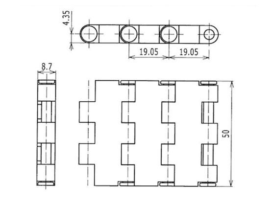 Ilustrasi Ukuran Plastic Modular Belt 5935MTW-K50 | Trindo Sukses Mandiri
