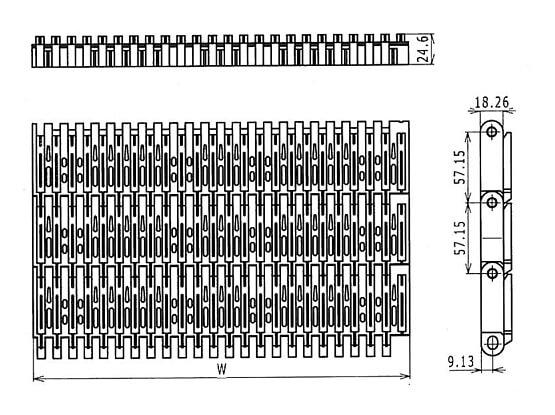 Ilustrasi Ukuran Plastic Modular Belt 5997 Raised Ribs | Trindo Sukses Mandiri