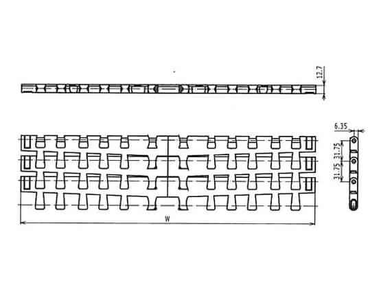 Ilustrasi Ukuran Plastic Modular Belt 7956 Radius Solid Top | Trindo Sukses Mandiri