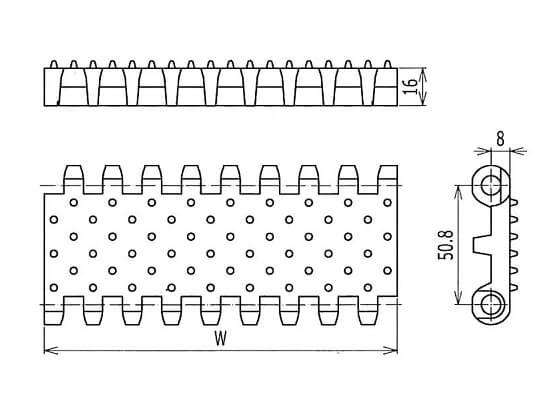 Ilustrasi Ukuran Plastic Modular Belt 800 Cone Top | Trindo Sukses Mandiri