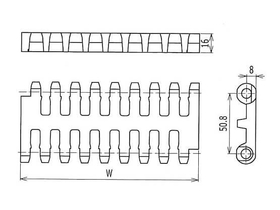 Ilustrasi Ukuran Plastic Modular Belt 800 Flush Grid | Trindo Sukses Mandiri