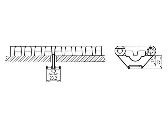 Ilustrasi Ukuran Plastic Modular Belt 800 Hold Down Tabs | Trindo Sukses Mandiri